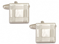 Dalaco 90-1405 Square With Tartan Lines Rhodium Plated Cufflinks